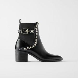 Zara Pearl & Stud Black Leather Ankle Booties, 7.5